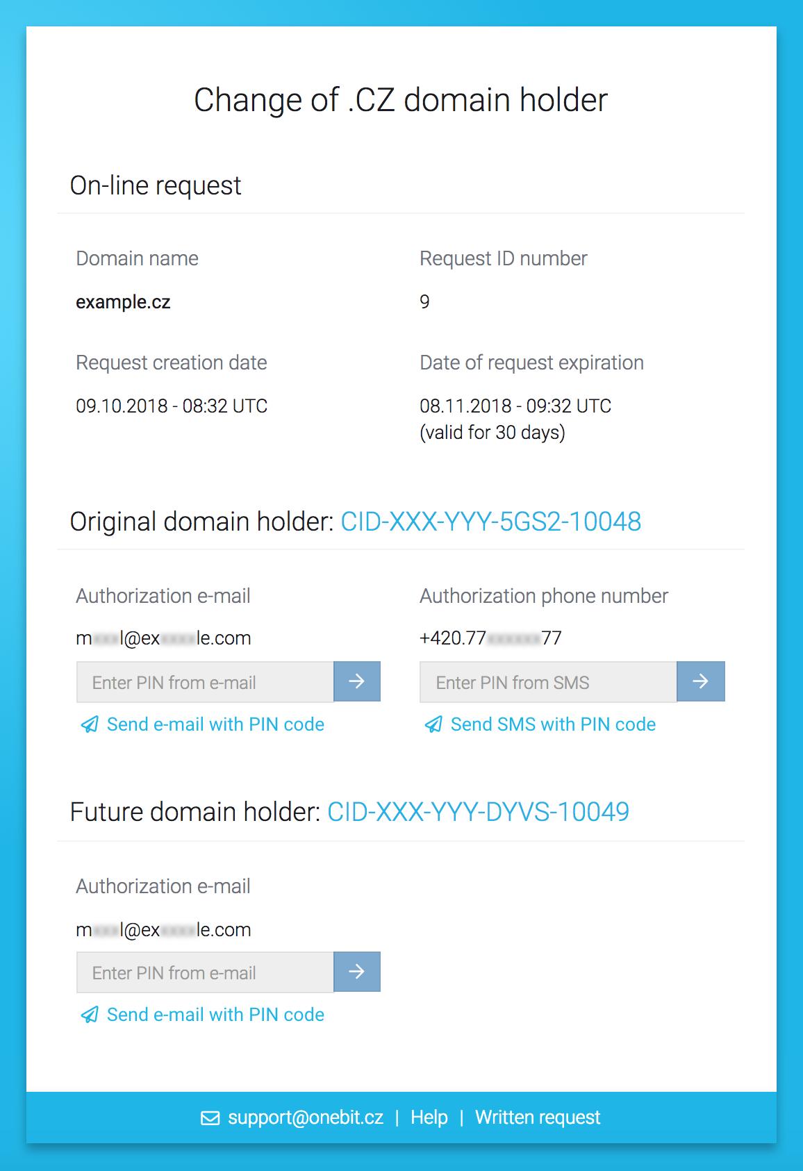 Online change of  CZ domain holder   Help ONEbit cz